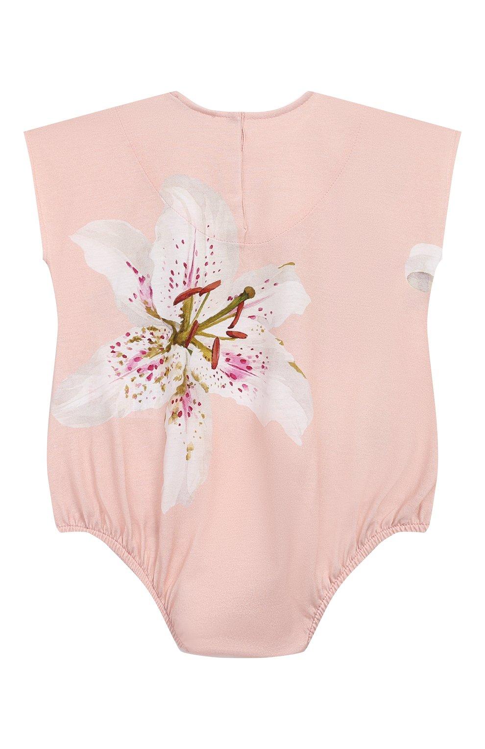 Детское комплект из комбинезона и нагрудника DOLCE & GABBANA светло-розового цвета, арт. L2J0M9/G7TSK   Фото 4