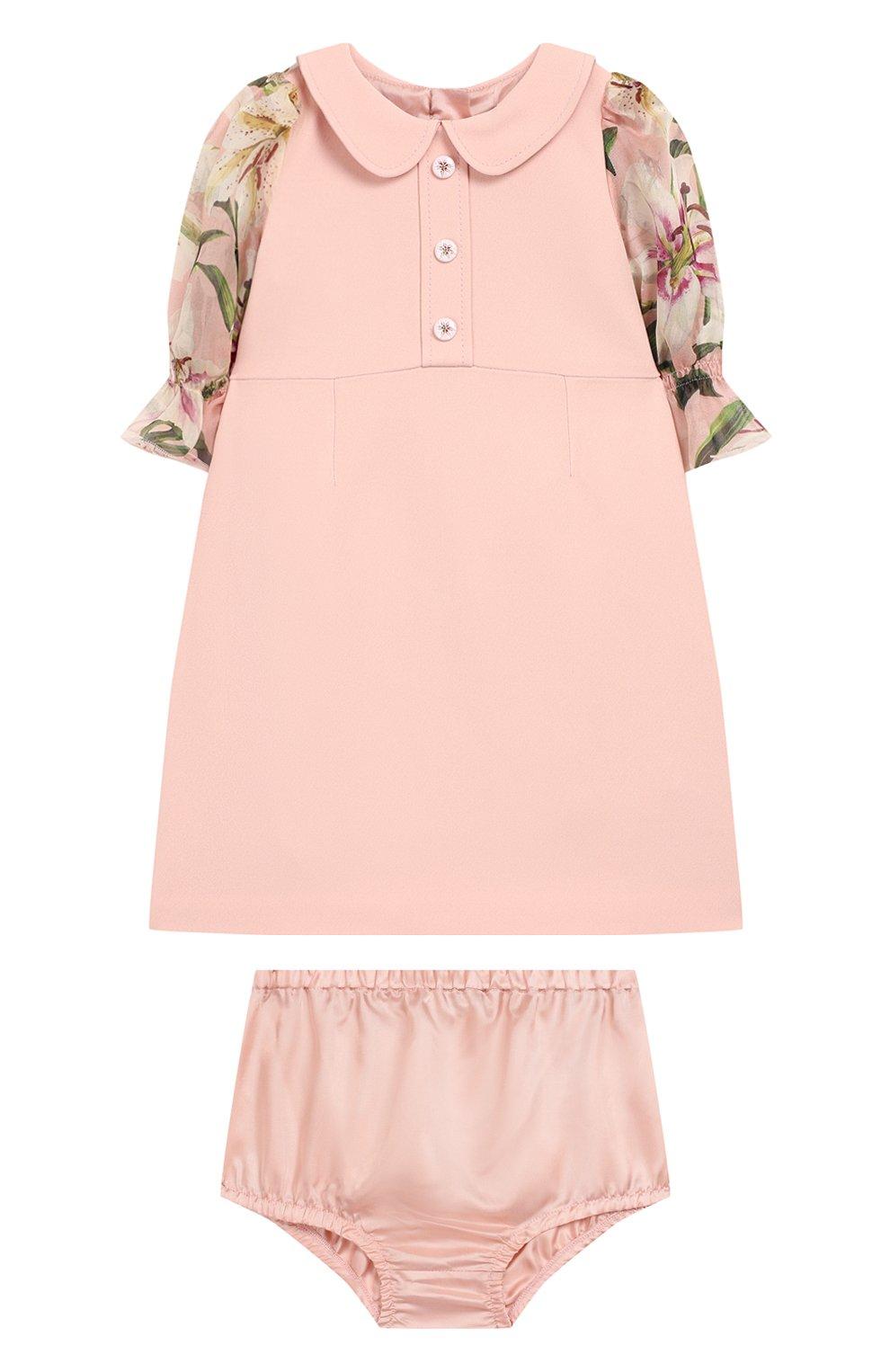 Женская комплект из платья и шорт DOLCE & GABBANA светло-розового цвета, арт. L21DQ3/G7SYY | Фото 1