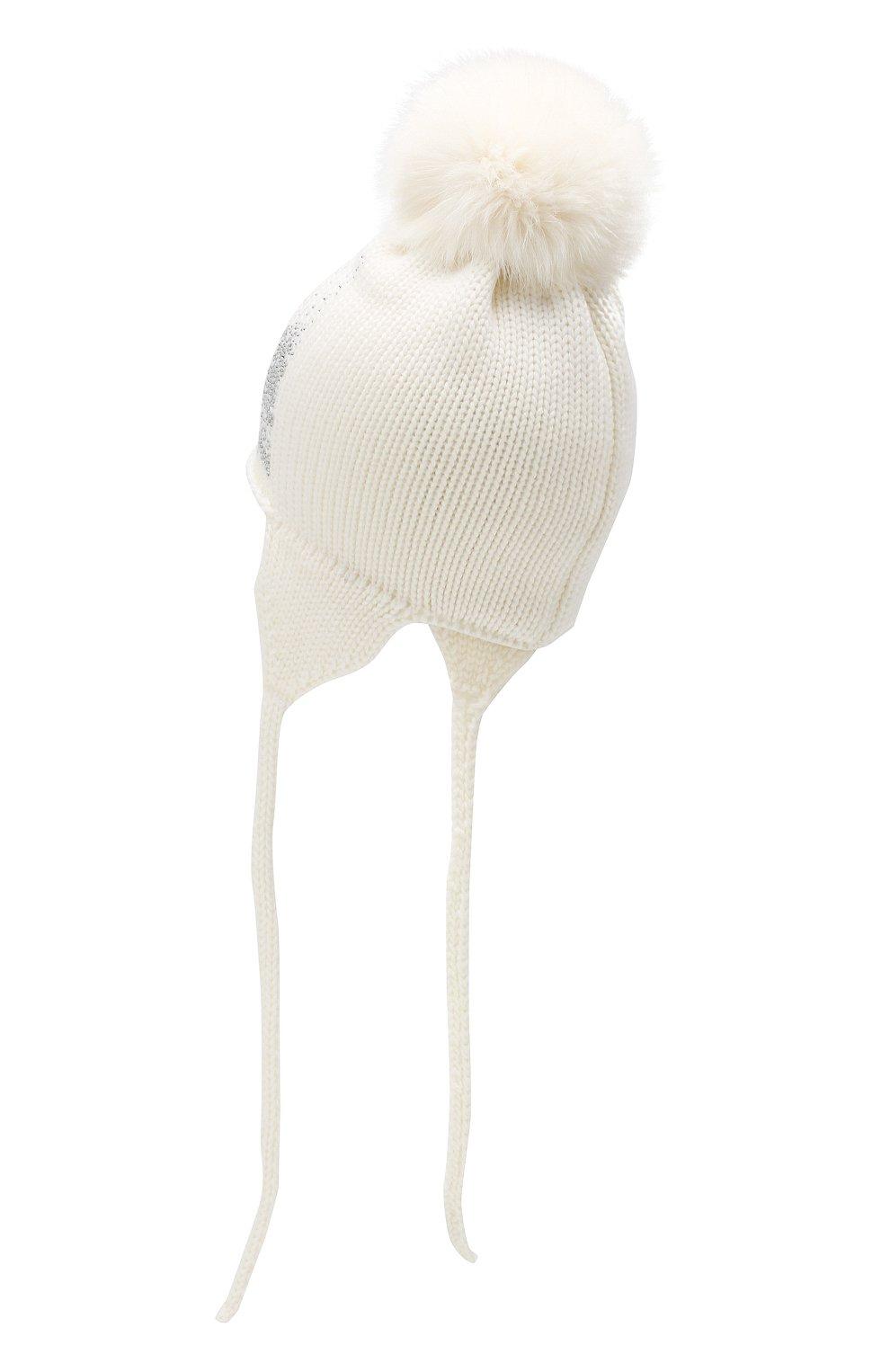 Детского шерстяная шапка с меховым помпоном CATYA белого цвета, арт. 923655/4DJ | Фото 2