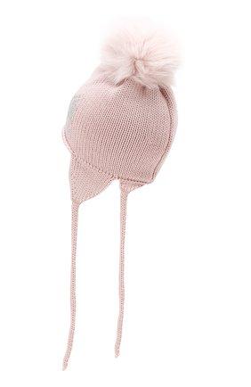 Детского шерстяная шапка с меховым помпоном CATYA светло-розового цвета, арт. 923655/1D | Фото 2