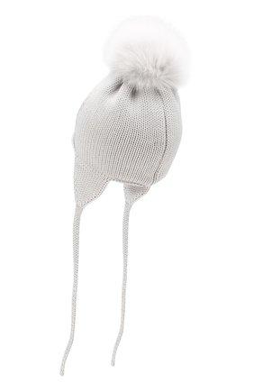 Детского шерстяная шапка с меховым помпоном CATYA светло-серого цвета, арт. 923655/1D | Фото 2