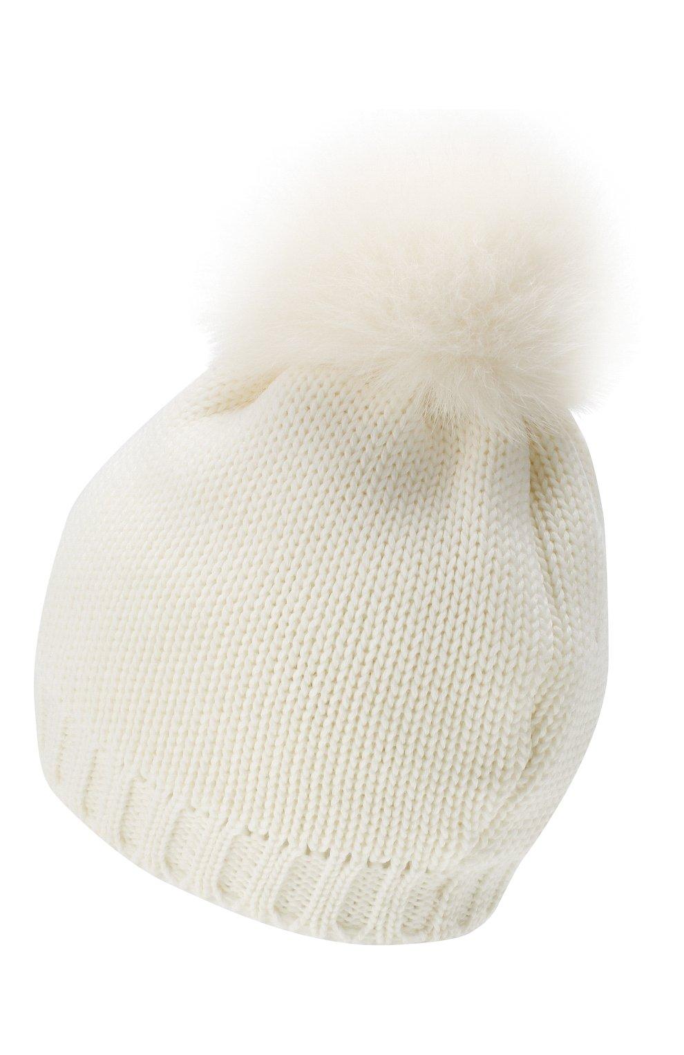 Детского шерстяная шапка с меховым помпоном CATYA белого цвета, арт. 923651/D   Фото 2