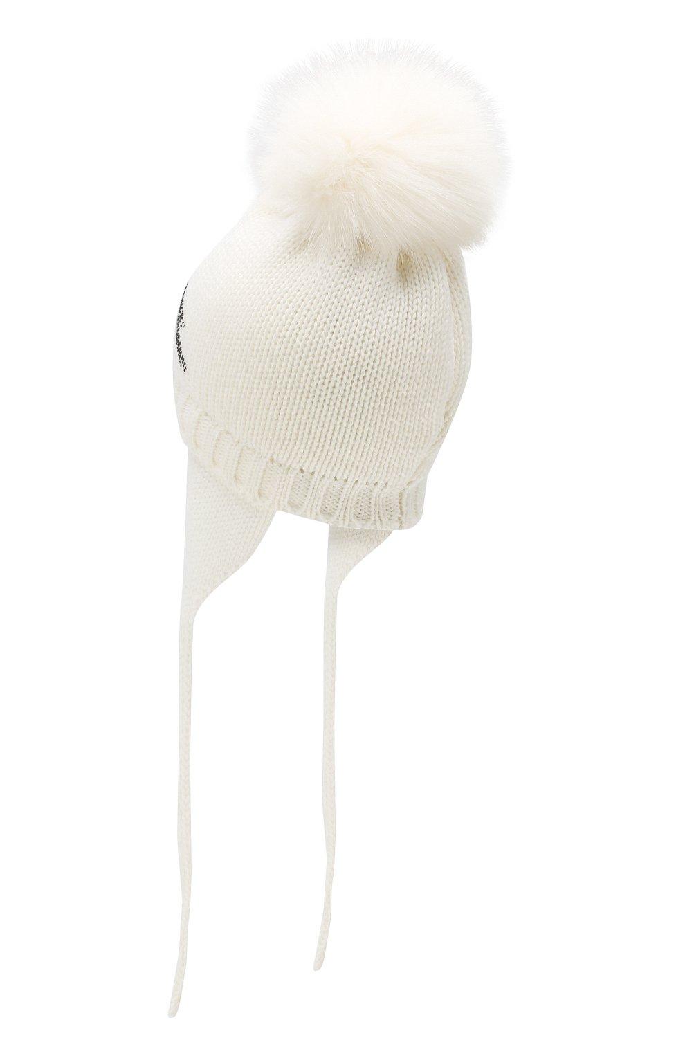 Детского шерстяная шапка с меховым помпоном CATYA белого цвета, арт. 923651/AD   Фото 2