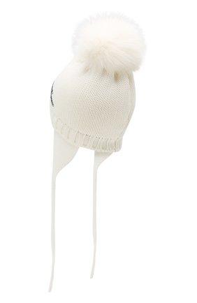 Детского шерстяная шапка с меховым помпоном CATYA белого цвета, арт. 923651/AD | Фото 2