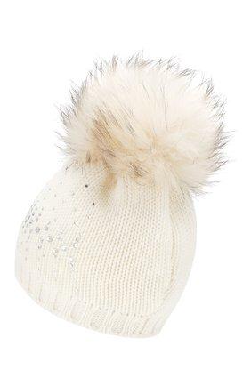 Детского шерстяная шапка с меховым помпоном CATYA белого цвета, арт. 923648/D | Фото 2