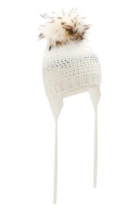 Детского шерстяная шапка с меховым помпоном CATYA белого цвета, арт. 923648/AD | Фото 1