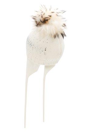 Детского шерстяная шапка с меховым помпоном CATYA белого цвета, арт. 923648/AD | Фото 2