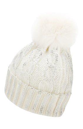 Детского шерстяная шапка с меховым помпоном CATYA белого цвета, арт. 923644 | Фото 2