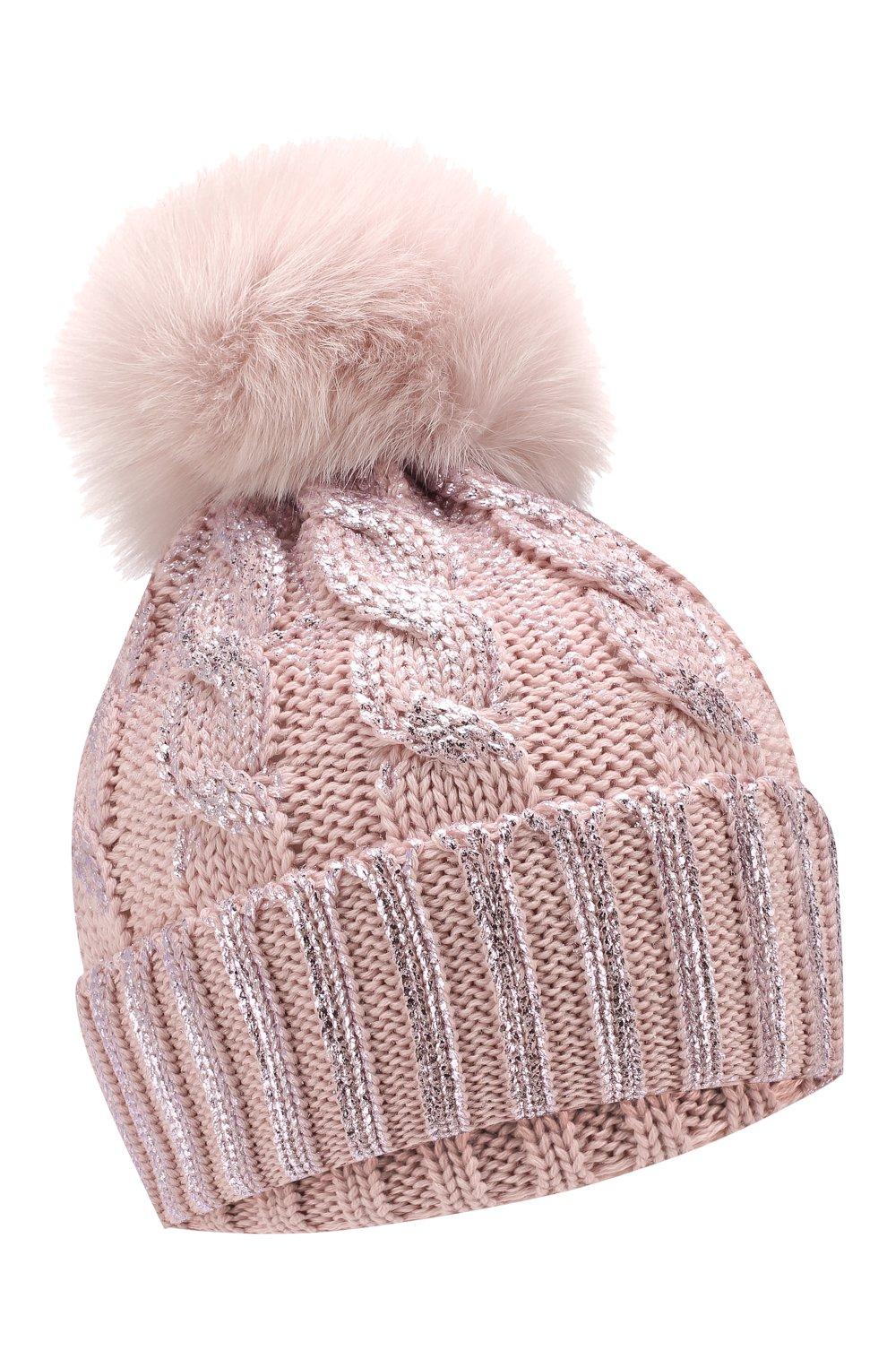 Детского шерстяная шапка с меховым помпоном CATYA светло-розового цвета, арт. 923644   Фото 1