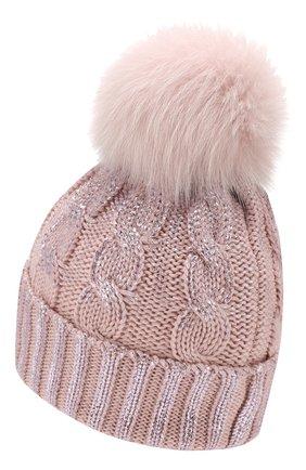 Детского шерстяная шапка с меховым помпоном CATYA светло-розового цвета, арт. 923644   Фото 2