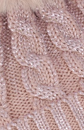 Детского шерстяная шапка с меховым помпоном CATYA светло-розового цвета, арт. 923644   Фото 3