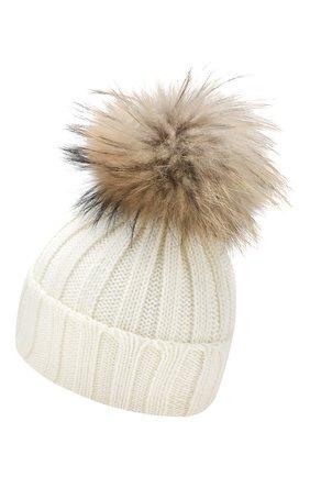 Детского шерстяная шапка с меховым помпоном CATYA белого цвета, арт. 923628 | Фото 2
