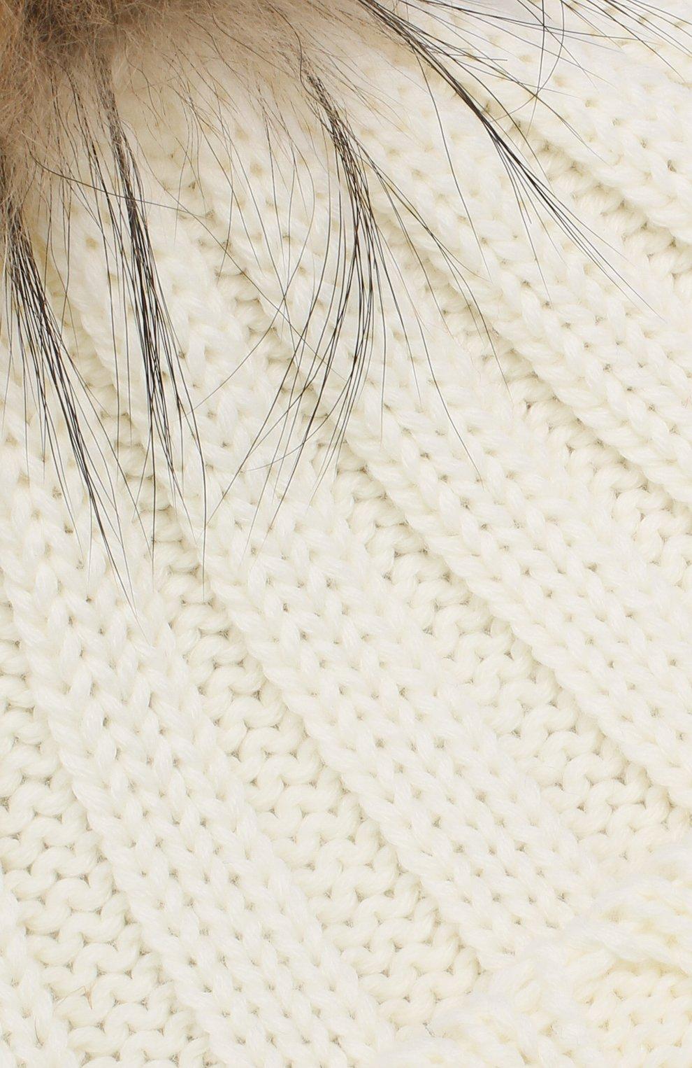 Детского шерстяная шапка с меховым помпоном CATYA белого цвета, арт. 923628 | Фото 3