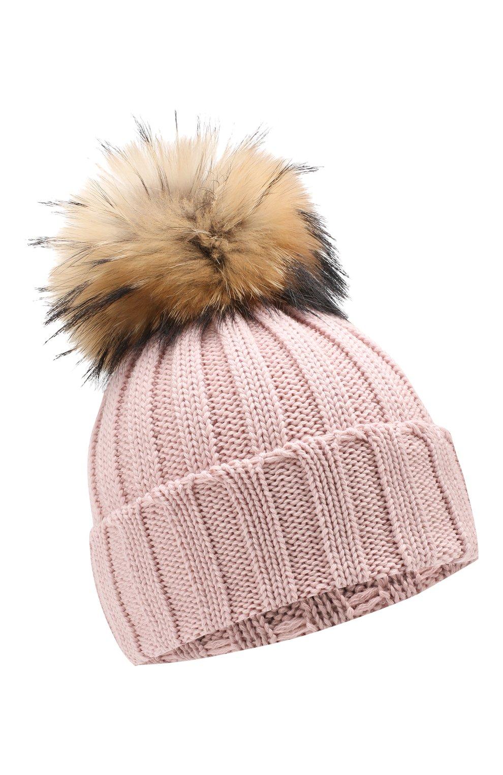 Детского шерстяная шапка с меховым помпоном CATYA светло-розового цвета, арт. 923628 | Фото 1