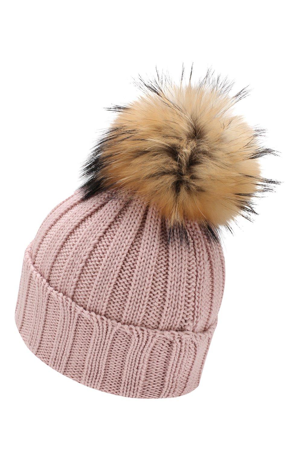 Детского шерстяная шапка с меховым помпоном CATYA светло-розового цвета, арт. 923628 | Фото 2