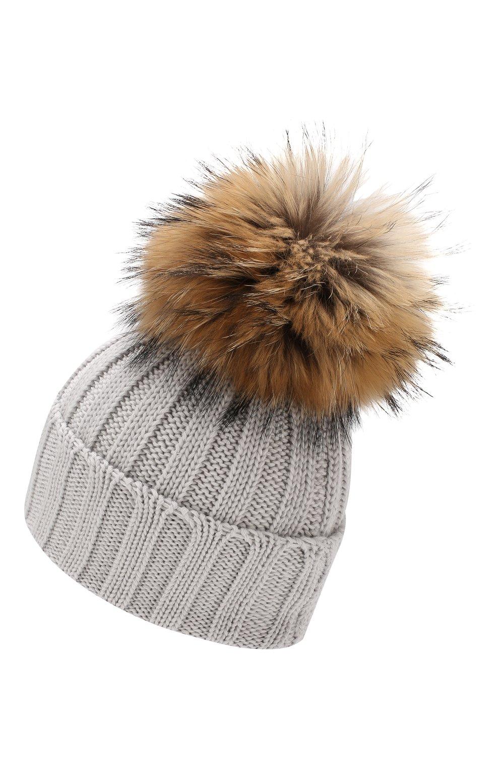 Шерстяная шапка с меховым помпоном | Фото №2