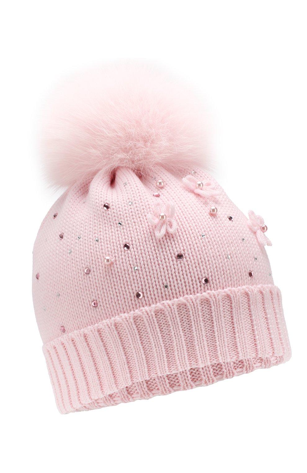 Детского шерстяная шапка с меховым помпоном CATYA розового цвета, арт. 923618/D | Фото 1