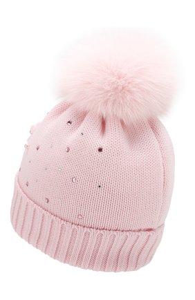 Детского шерстяная шапка с меховым помпоном CATYA розового цвета, арт. 923618/D | Фото 2