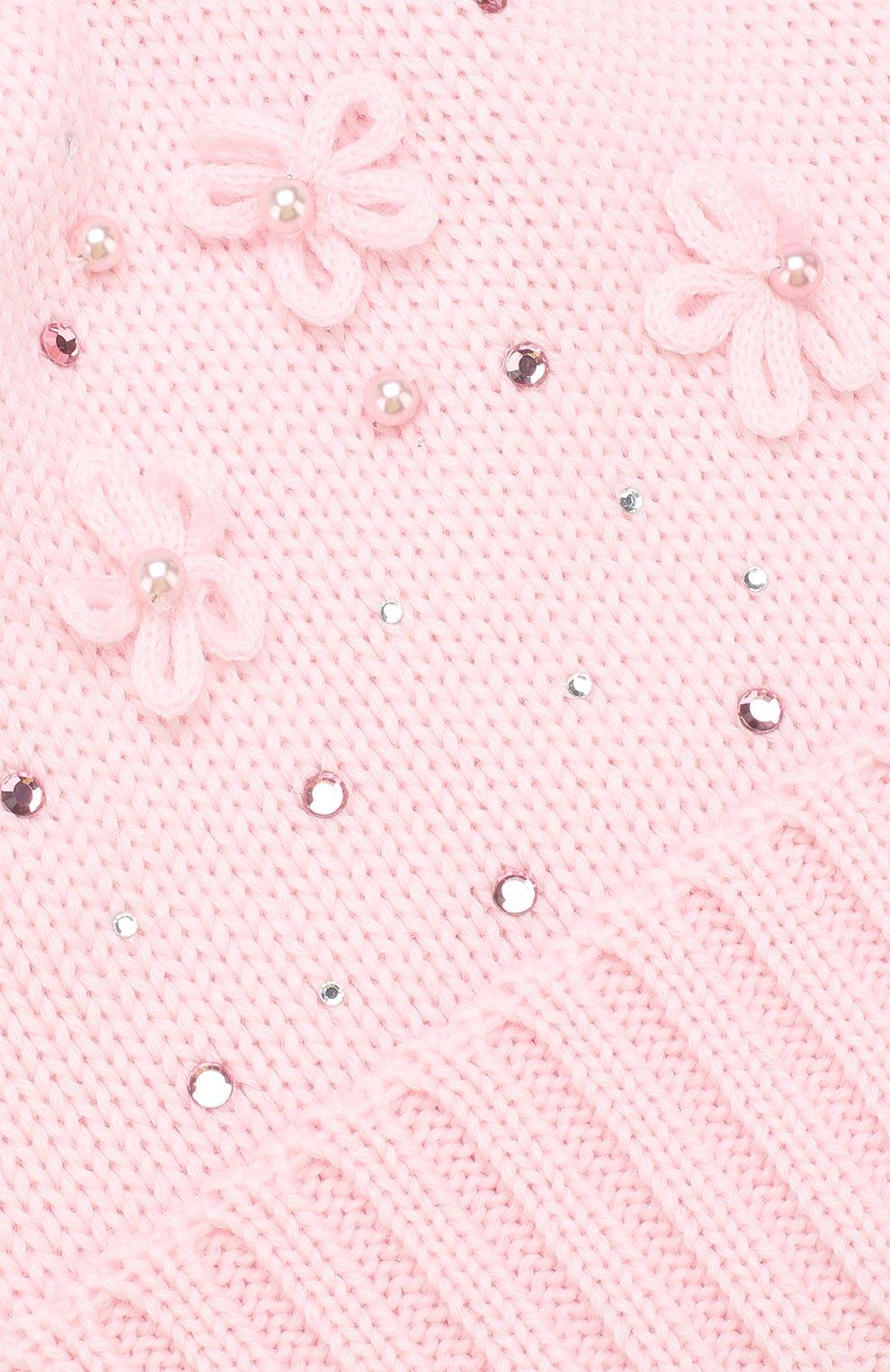 Детского шерстяная шапка с меховым помпоном CATYA розового цвета, арт. 923618/D | Фото 3