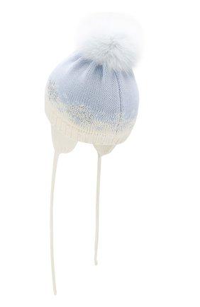 Детского шерстяная шапка с меховым помпоном CATYA голубого цвета, арт. 923574/ADF | Фото 2