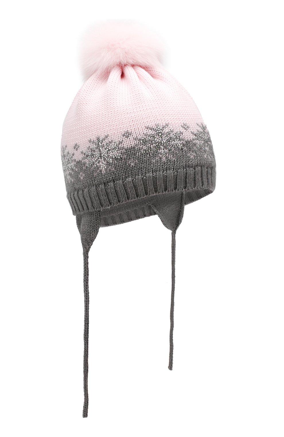 Детского шерстяная шапка с меховым помпоном CATYA розового цвета, арт. 923574/ADF | Фото 1