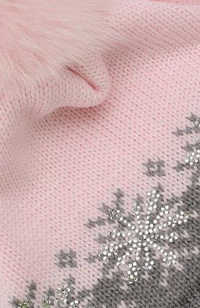 Детского шерстяная шапка с меховым помпоном CATYA розового цвета, арт. 923574/ADF | Фото 3
