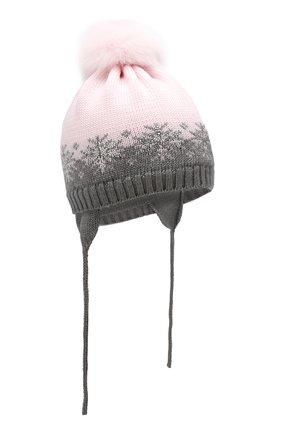 Детского шерстяная шапка с меховым помпоном CATYA розового цвета, арт. 923574/AD | Фото 1