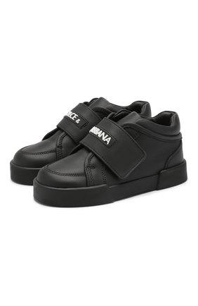 Кожаные кроссовки с застежкой велькро | Фото №1