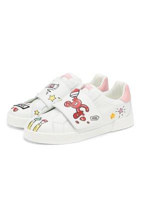 Детские кожаные кеды DOLCE & GABBANA белого цвета, арт. D10861/AN008/37-39 | Фото 1