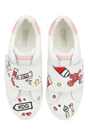 Детские кожаные кеды DOLCE & GABBANA белого цвета, арт. D10861/AN008/37-39 | Фото 4