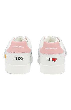 Детские кожаные кеды DOLCE & GABBANA белого цвета, арт. D10861/AN008/37-39 | Фото 5