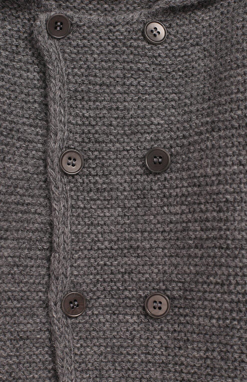 Детский шерстяной кардиган IL GUFO серого цвета, арт. A19GF239EM620/3М-9М | Фото 3