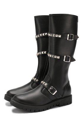 Детские кожаные сапоги TREVIRGOLAZERO 3,0 черного цвета, арт. TRACY/30-36 | Фото 1