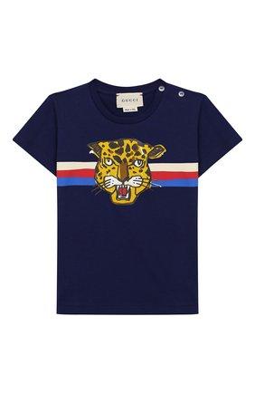Детский хлопковая футболка GUCCI синего цвета, арт. 548034/XJBBU | Фото 1