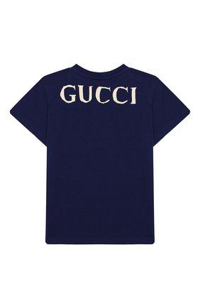 Детский хлопковая футболка GUCCI синего цвета, арт. 548034/XJBBU | Фото 2