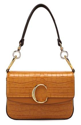 Женская сумка chloé c small CHLOÉ темно-бежевого цвета, арт. CHC19SS191A87 | Фото 1