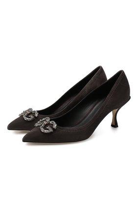 Женская замшевые туфли lori DOLCE & GABBANA серого цвета, арт. CD1360/AV301 | Фото 1