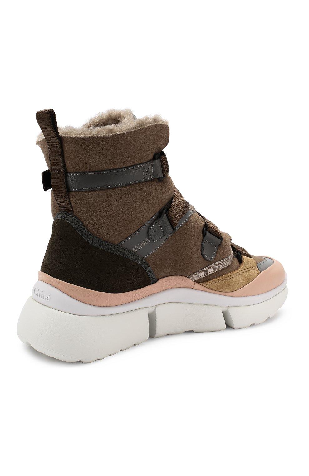 Женские замшевые кроссовки sonnie  CHLOÉ хаки цвета, арт. CHC19A05085 | Фото 4