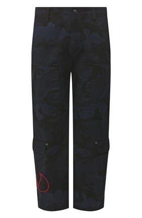 Мужской хлопковые брюки VALENTINO синего цвета, арт. SV3REA405BG | Фото 1