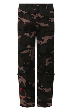 Мужской хлопковые брюки VALENTINO хаки цвета, арт. SV3REA405BG | Фото 1