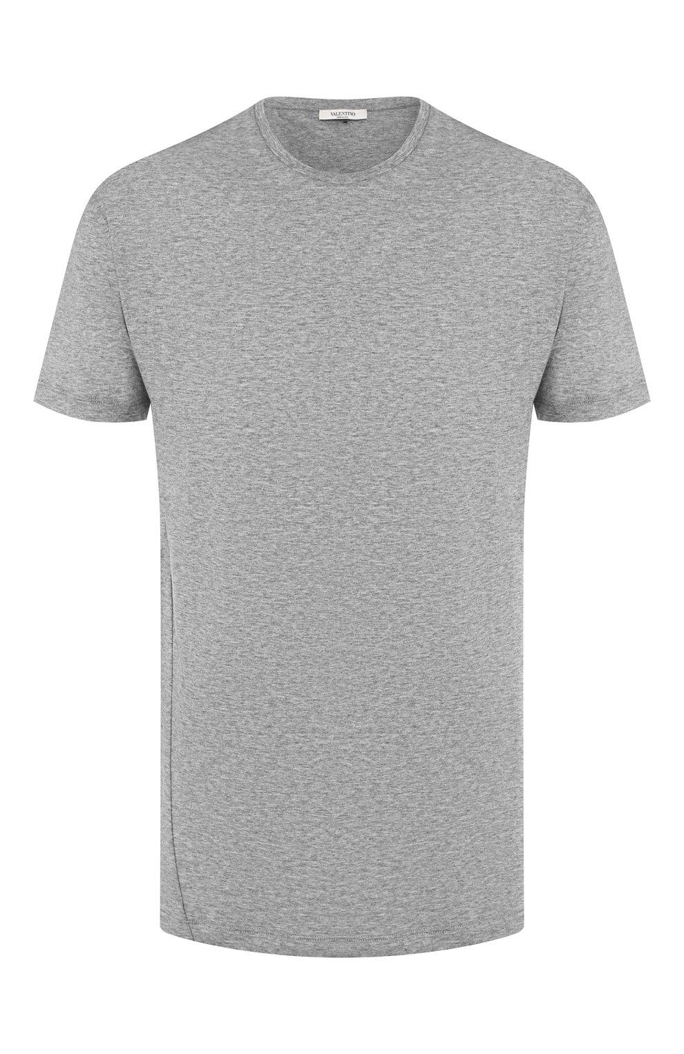 Мужская хлопковая футболка VALENTINO серого цвета, арт. SV3MG02D5GT   Фото 1