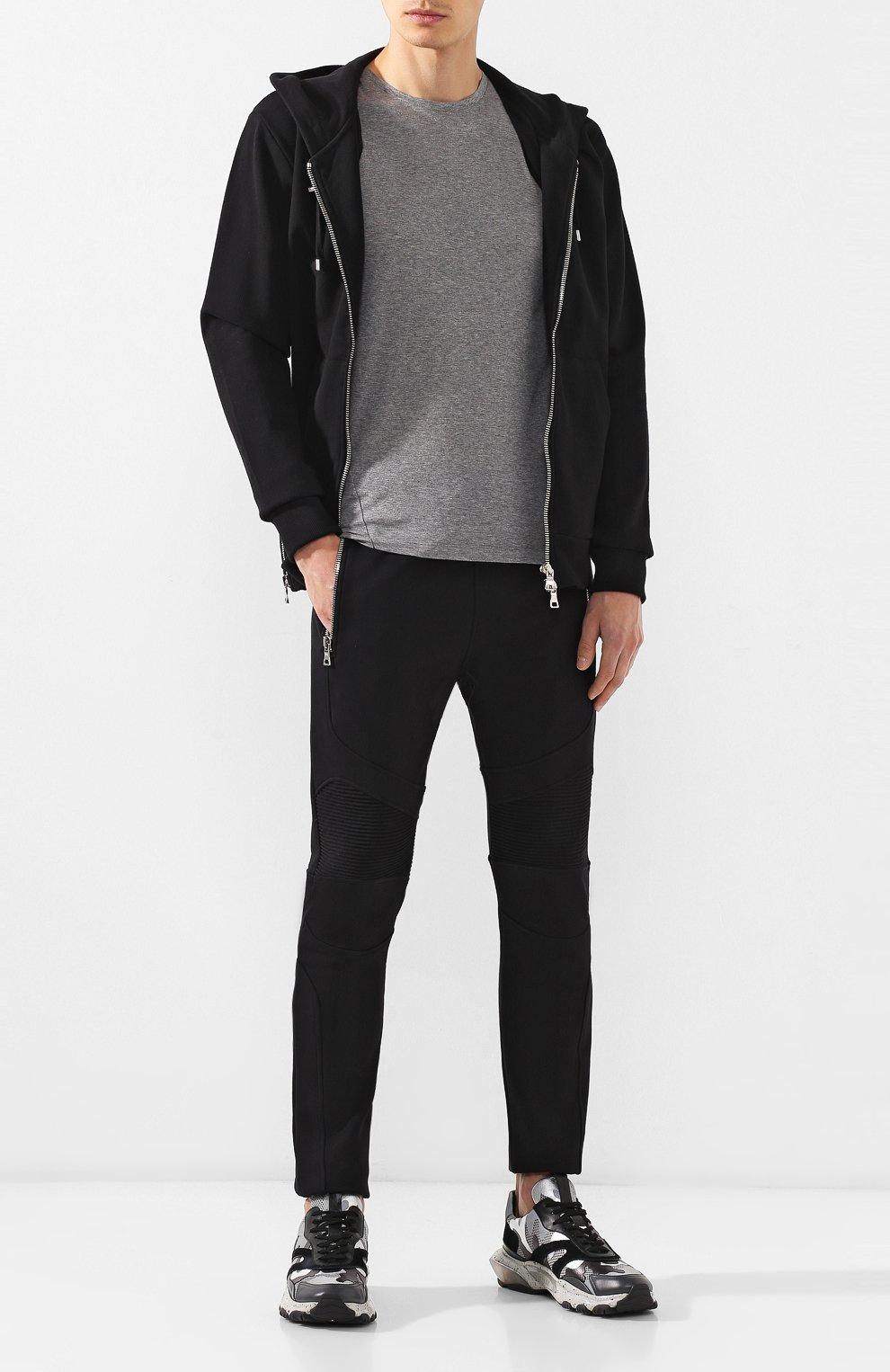 Мужская хлопковая футболка VALENTINO серого цвета, арт. SV3MG02D5GT   Фото 2