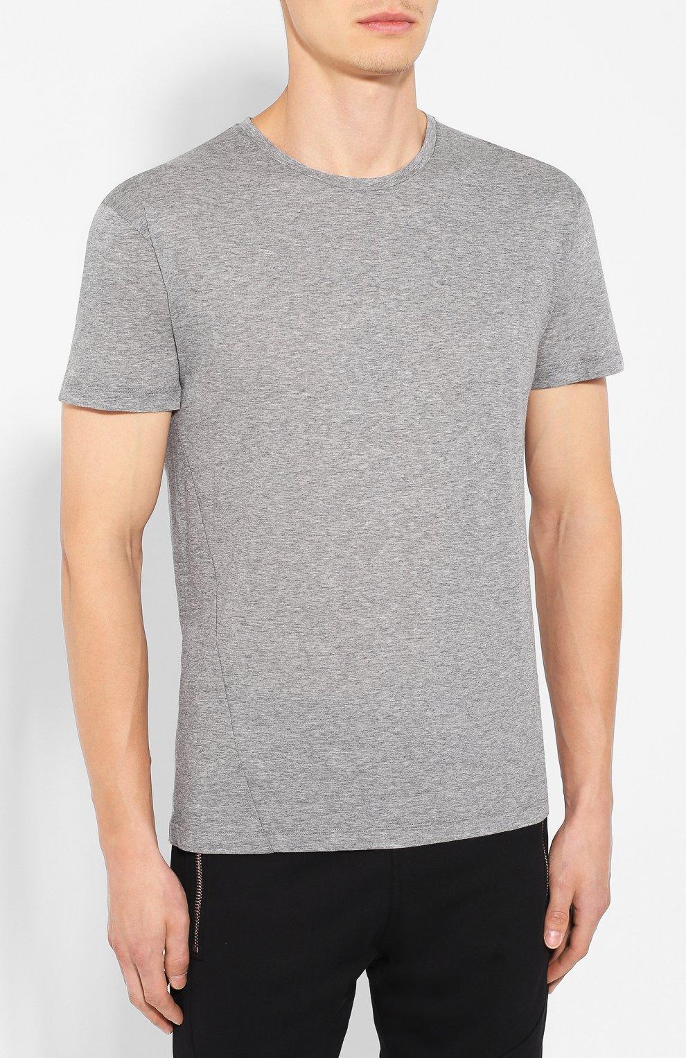 Мужская хлопковая футболка VALENTINO серого цвета, арт. SV3MG02D5GT   Фото 3