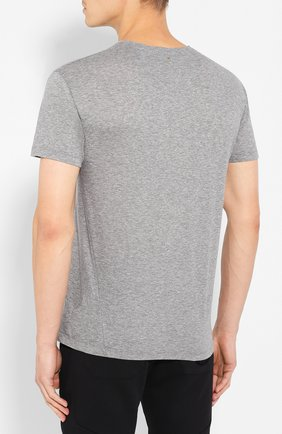 Мужская хлопковая футболка VALENTINO серого цвета, арт. SV3MG02D5GT   Фото 4