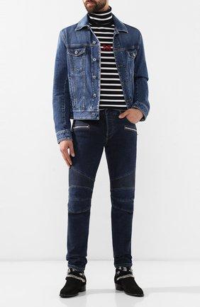 Мужские джинсы BALMAIN синего цвета, арт. SH15342/Z162 | Фото 2