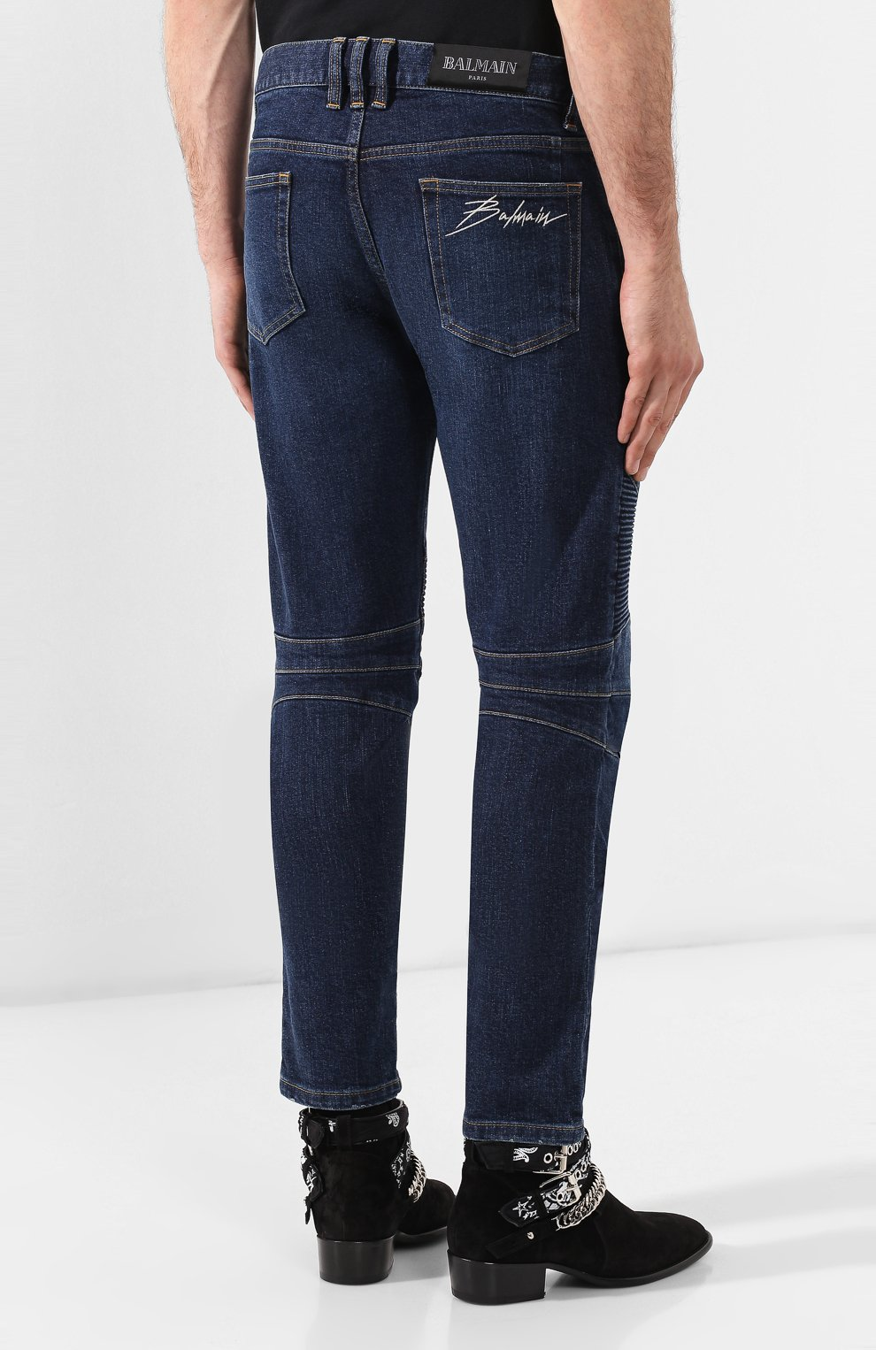 Мужские джинсы BALMAIN синего цвета, арт. SH15342/Z162 | Фото 4