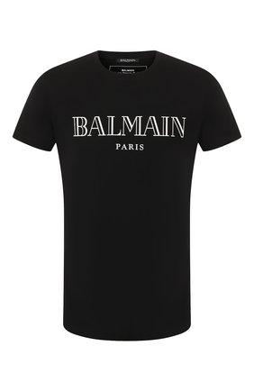 Мужская хлопковая футболка BALMAIN черного цвета, арт. SH11601/I312 | Фото 1