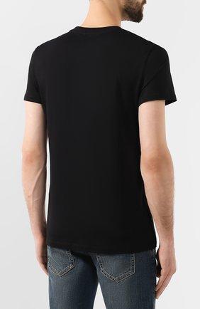 Мужская хлопковая футболка BALMAIN черного цвета, арт. SH11601/I312 | Фото 4