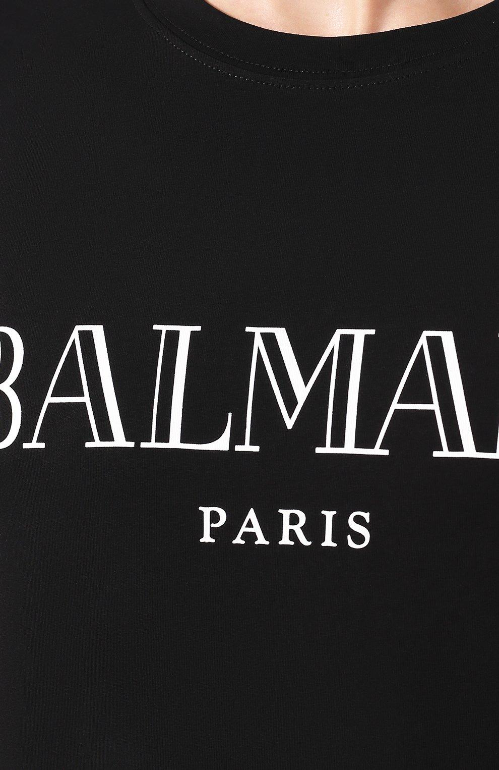 Мужская хлопковая футболка BALMAIN черного цвета, арт. SH11601/I312 | Фото 5