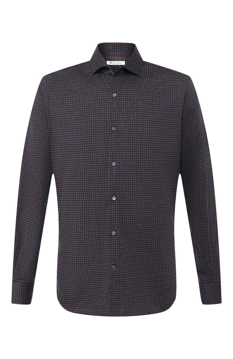 Мужская хлопковая сорочка LORO PIANA темно-серого цвета, арт. FAI7796 | Фото 1
